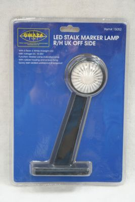 LED stalk marker lamp with white & red lens R/H Tractor or Lorry 15052