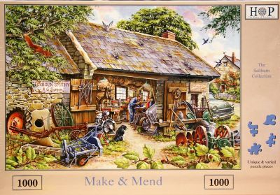 Make and Mend 1000 Piece Jigsaw Puzzle Little Grey Fergie in for Repair