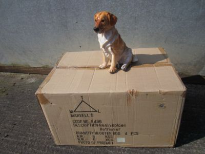 Golden Labrador Retriever Dog Figurine Ornament x 4 Trade Pack