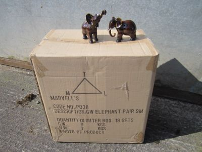 Pair of Small Brown African Elephant Figurines Ornament x 18 Trade Pack
