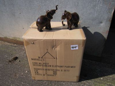 Pair of Medium Brown African Elephant Figurines Ornament x 6 Trade Pack
