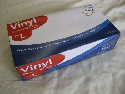 Powder free clear vinyl gloves latex free box 100 size large