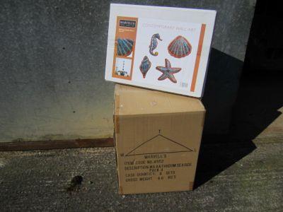 Set of 4 Bathroom Seaside Metal Wall Art  x 8 Trade Pack