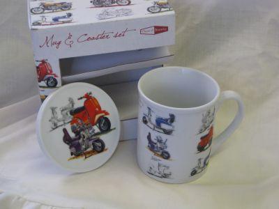 Classic Scooter fine china mug & coaster set by Oscar & Bromley R35005S