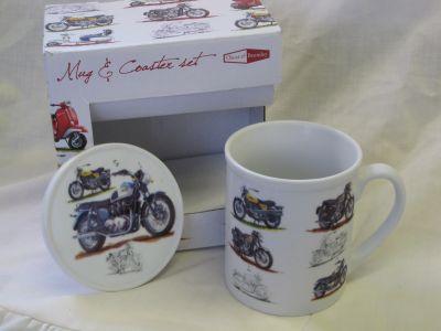 Classic Motorbike fine china mug & coaster set by Oscar & Bromley R35005MB