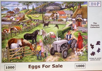 Eggs For Sale 1000 Piece Jigsaw Puzzle Farmer Sitting on His Little Grey Fergie Chatting