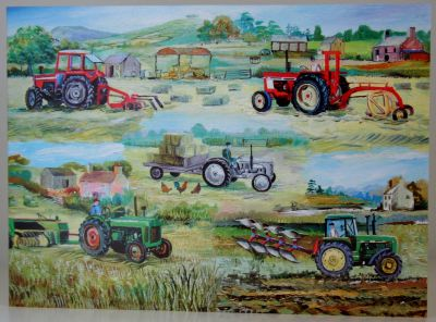 Blank Greeting Card with envelope for any Occasion Tractors Busy at Work 10175