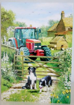 Blank Greeting Card with envelope for any Occasion Tractor at the Gate 10492