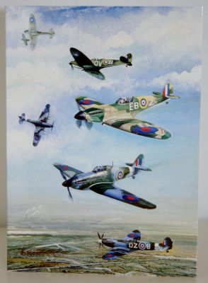 Blank Greeting Card with envelope for any Occasion WW2 RAF Spitfires and Hurricanes 1093