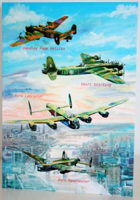 Blank Greeting Card with envelope for any Occasion WW2 RAF Bombers 10281