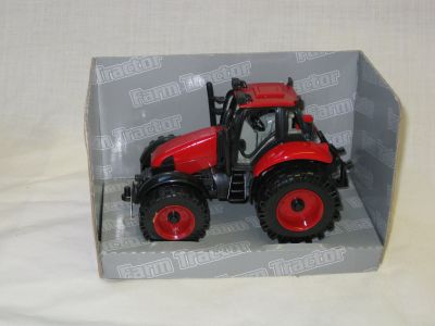 Die cast with plastic parts red farm tractor D60424