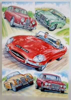 Blank Greeting Card with envelope for any Occasion Classic Jaguar Cars 10476