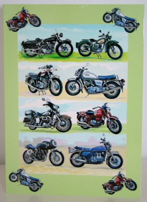 Blank Greeting Card with envelope for any Occasion Classic Motorbikes 3031