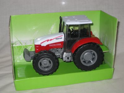 Die cast with plastic parts Red farm tractor with sound D60283R