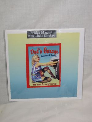 Dad's Garage Blank Greetings Card with Fridge Magnet 30008