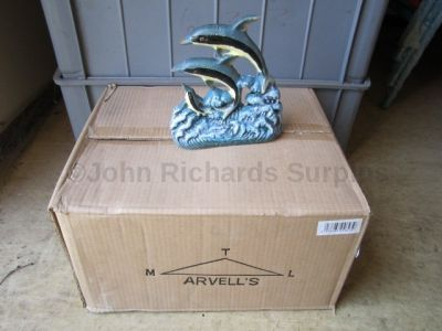 Cast Iron leaping Dolphin Door Stop x 16 Trade Pack