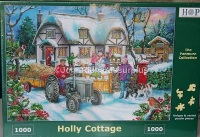 Holly Cottage 1000 Piece Jigsaw Puzzle Ferguson Tractor Christmas Scene
