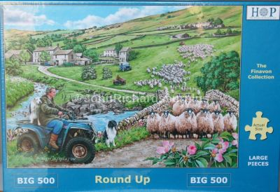 Round Up Big 500 Piece Jigsaw Puzzle Sheep Quad Bikes And Defender