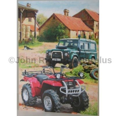 Blank Greeting Card with envelope for any Occasion Land Rover and Quad Bike 10432