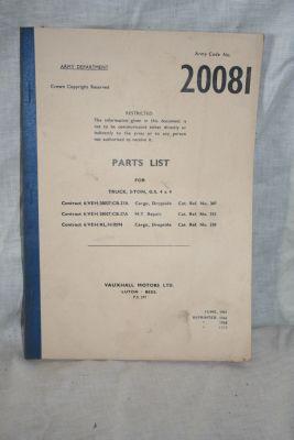 Bedford RL 3-ton G.S, parts list 20081