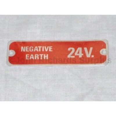 Land Rover 24volt warning plate 598701