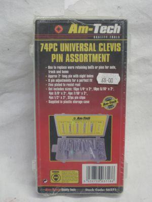 Am-Tech 74 Piece Universal Clevis Pin Assortment S6271