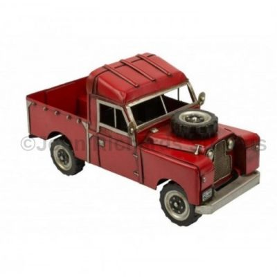 Handcrafted Tin Plate Series 1 Red Land Rover Pick up