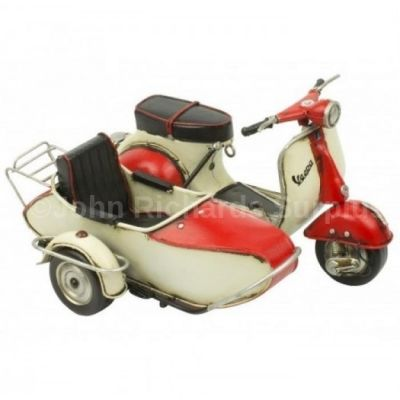 Handcrafted Tin Plate Red Vespa Scooter with side car