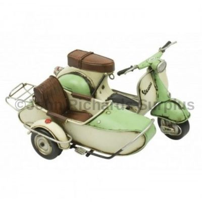 Handcrafted Tin Plate Green Vespa Scooter with side car