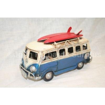 "Volkswagen Tin Plate Camper Van Dark Blue ""Surfs Up"""