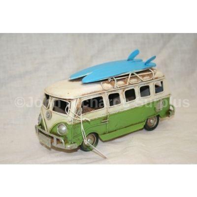 """Volkswagen Tin Plate Camper Van Green """"Surfs Up"""""""