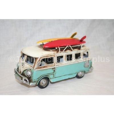 "Volkswagen Tin Plate Camper Van Light Blue ""Surfs Up"""