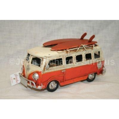 """Volkswagen Tin Plate Camper Van Orange """"Surfs Up"""""""