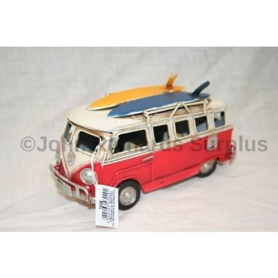 """Volkswagen Tin Plate Camper Van Red """"Surfs Up"""""""