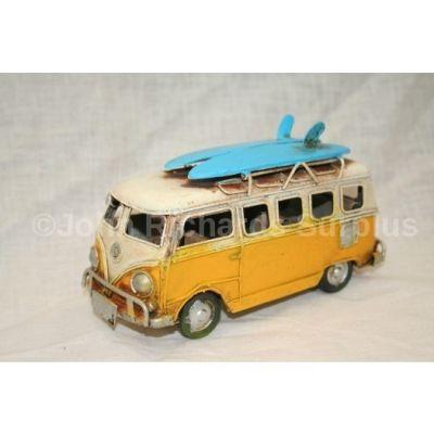 """Volkswagen Tin Plate Camper Van Yellow """"Surfs Up"""""""