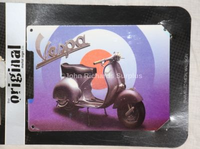 Vespa Scooter Small Enamelled Metal wall sign
