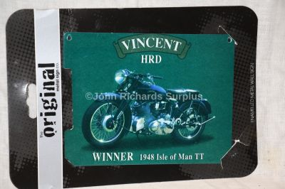 Vincent HRD Motorbike 1948 TT Winner Small Metal Wall Sign