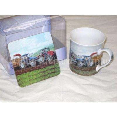 Countryside Collection Fine China Mug & Coaster Set Tractors on Potato Harvest
