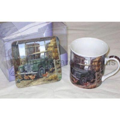 Cachet Land Rover mug & coaster set