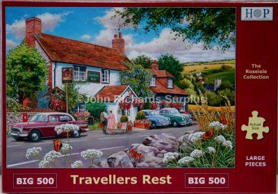 Travellers Rest Big 500 Piece Jigsaw Puzzle Classic Car