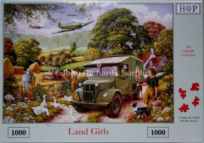 Land Girls 1000 Piece Jigsaw Puzzle Military Ambulance and RAF Spitfire