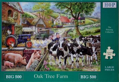 Oak Tree Farm Big 500 Piece Jigsaw Puzzle Land Rover & Fordson Tractor
