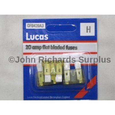 Lucas pack 3 20amp flat blade fuses CFB420