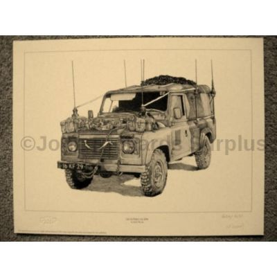 Land Rover signed reproduction print Glosters 110 FFR