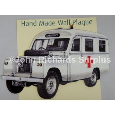 Handmade wooden wall plaque Land Rover Series 2 Ambulance