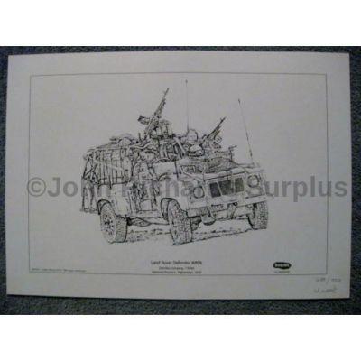 Land Rover signed reproduction print Defender WMIK 7 Rifles