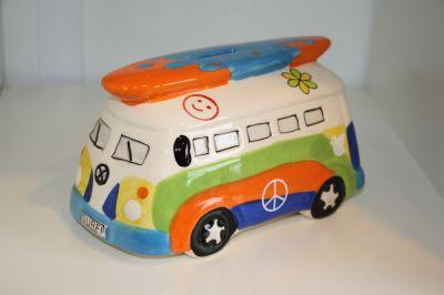 Surfs Up!! Camper Van Money Box Piggy Bank Multicoloured 6083