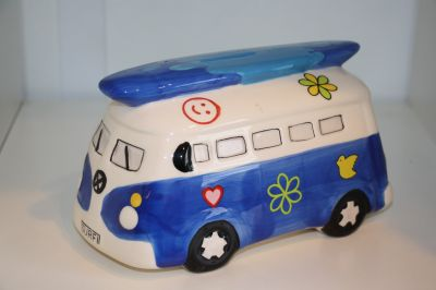 Surfs Up!! Camper Van Money Box Piggy Bank Blue 6083