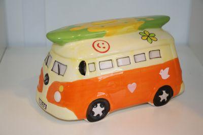 Surfs Up!! Camper Van Money Box Piggy Bank Orange 6083