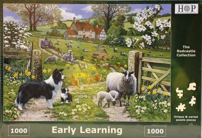 Early Learning 1000 Piece Jigsaw Puzzle Fordson Tractor & Border Collie